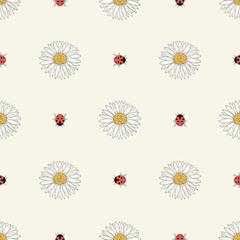 chamomiles and ladybugs seamless pattern