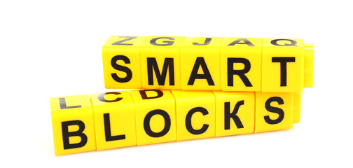 Words Smart Blocks formed from educational cubes, isolated
