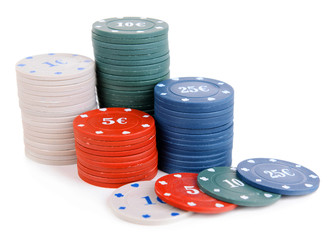Chips for poker isolated on white