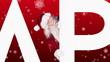 Santa peeking around happy holidays on festive background
