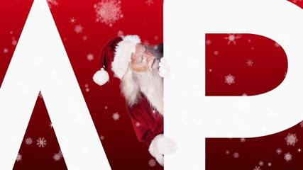 Santa peeking around happy holidays on festive background