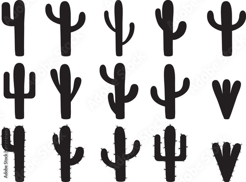 Cactus silhouettes illustrated on white - 72731202