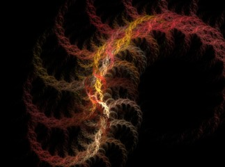 Rope shaped red abstract fractal effect light background