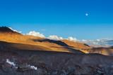 Basgo monastery and moonrise in Himalayas. India