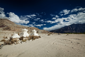 Chorten in Himalayas. Nubra valley, Ladakh, India