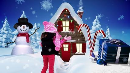 Little girl spinning in a winter wonderland