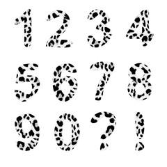 Vector alphabet numbers,trendy leopard pattern