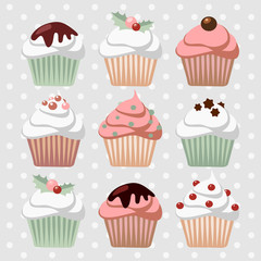 Set of various christmas cupcakes, muffins, vector