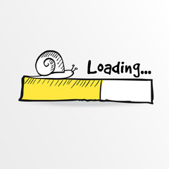 Loading bar with a doodle snail, vector illustration