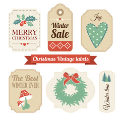 Retro set of christmas vintage gift, sale labels,tags