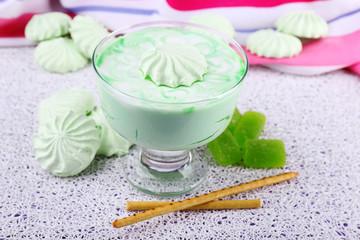 Mint milk dessert in glass bowl on color wooden background
