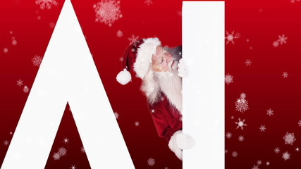Santa peeking around the word sale on festive background