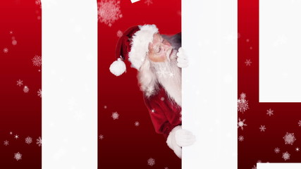 Santa peeking around 2015 on festive background