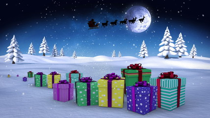 Christmas presents appearing in winter setting