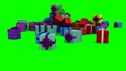 Christmas presents falling on green background