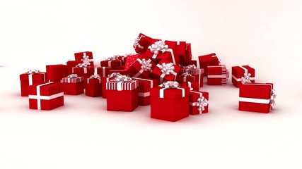 Christmas presents falling on white background