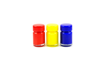 Bottles of primary color