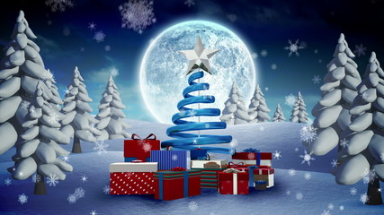 Christmas tree and presents in snowy landscape