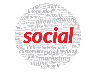 Red Social concept in word tag cloud
