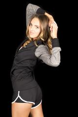 woman gray fitness on black twist serious