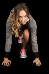 woman gray fitness run ready serious