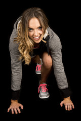 woman gray fitness run stance smiling