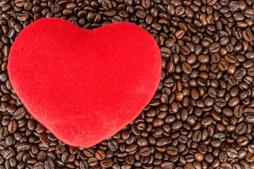 heart love on coffee beans
