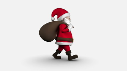 Cartoon Santa walking on white background