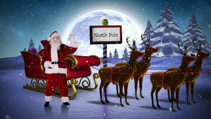Santa waving in his sleigh with reindeer at the north pole