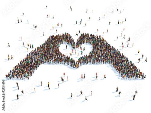 Leinwanddruck Bild illustration of hands depicting the heart