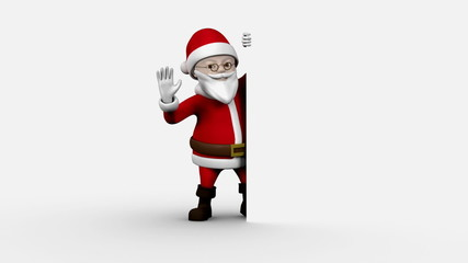 Cartoon santa presenting on white background