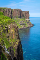 The Kilt rock on the Isle of Skye in Scotland