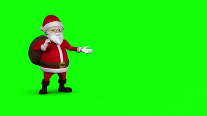 Cartoon Santa walking on green background