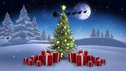 Christmas scene in winter setting