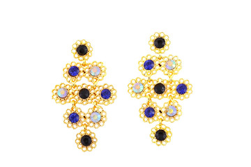 beatiful gold earrings with stones isolated