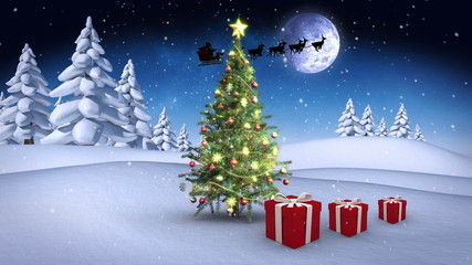 Christmas presents bouncing around tree in winter setting