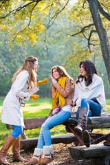 Three beautiful women talking and enjoying in the park
