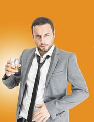 Businessman drink alchool