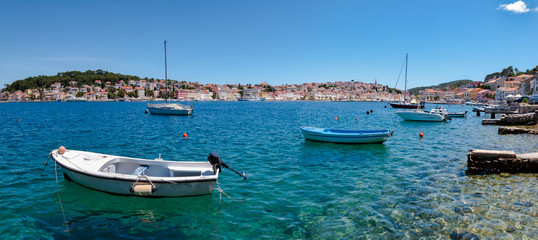 Panoramic view of sea and boats on Mali Losinj bay