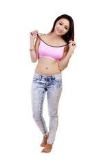 Asian American Woman Jeans Pink Sports Bra