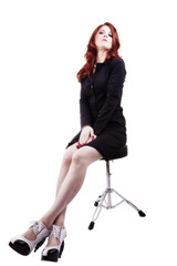 Red Headed Woman In Business Outfit Stool