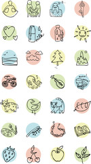 contour set of iconsd themes healthy lifestyle