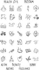 set of icons of black hand drawn contour