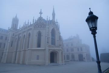 Lednice Castle in the fog