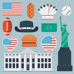 USA flat icon set