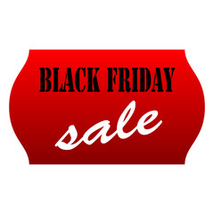 Black Friday Sale Red Price Tag on White Background