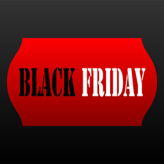 Black Friday Red Price Tag on Black Background