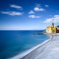 Camogli church on sea and beach view. Liguria, Italy