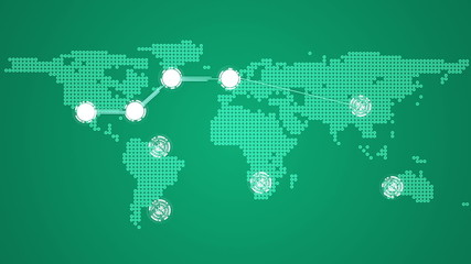 Global connections theme in green