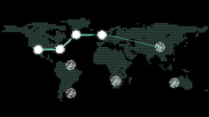 Global connections theme in green and black